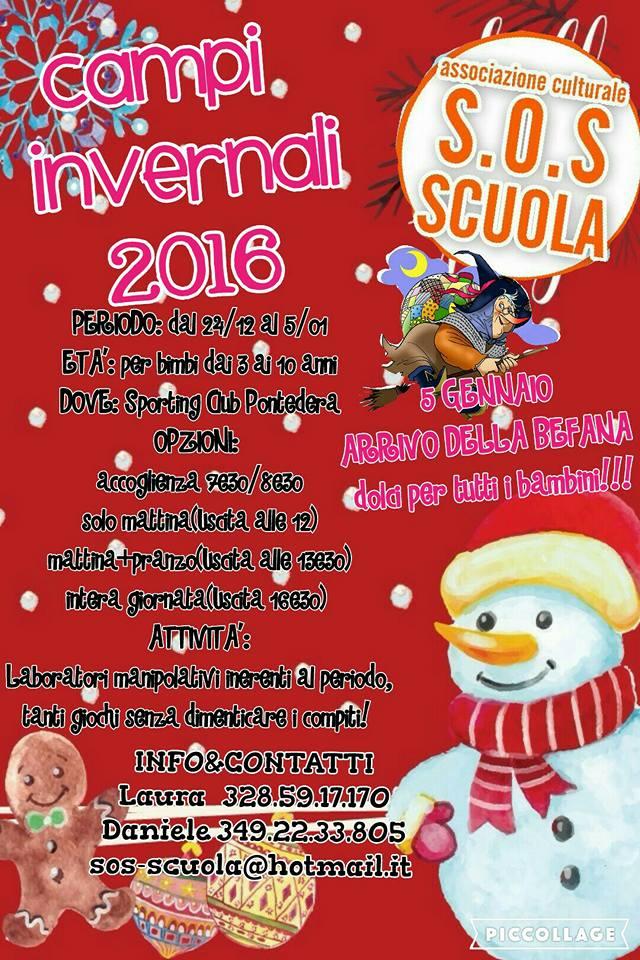 locandina dei campi invernali 2016/2017 di S.O.S Scuola di Pontedera