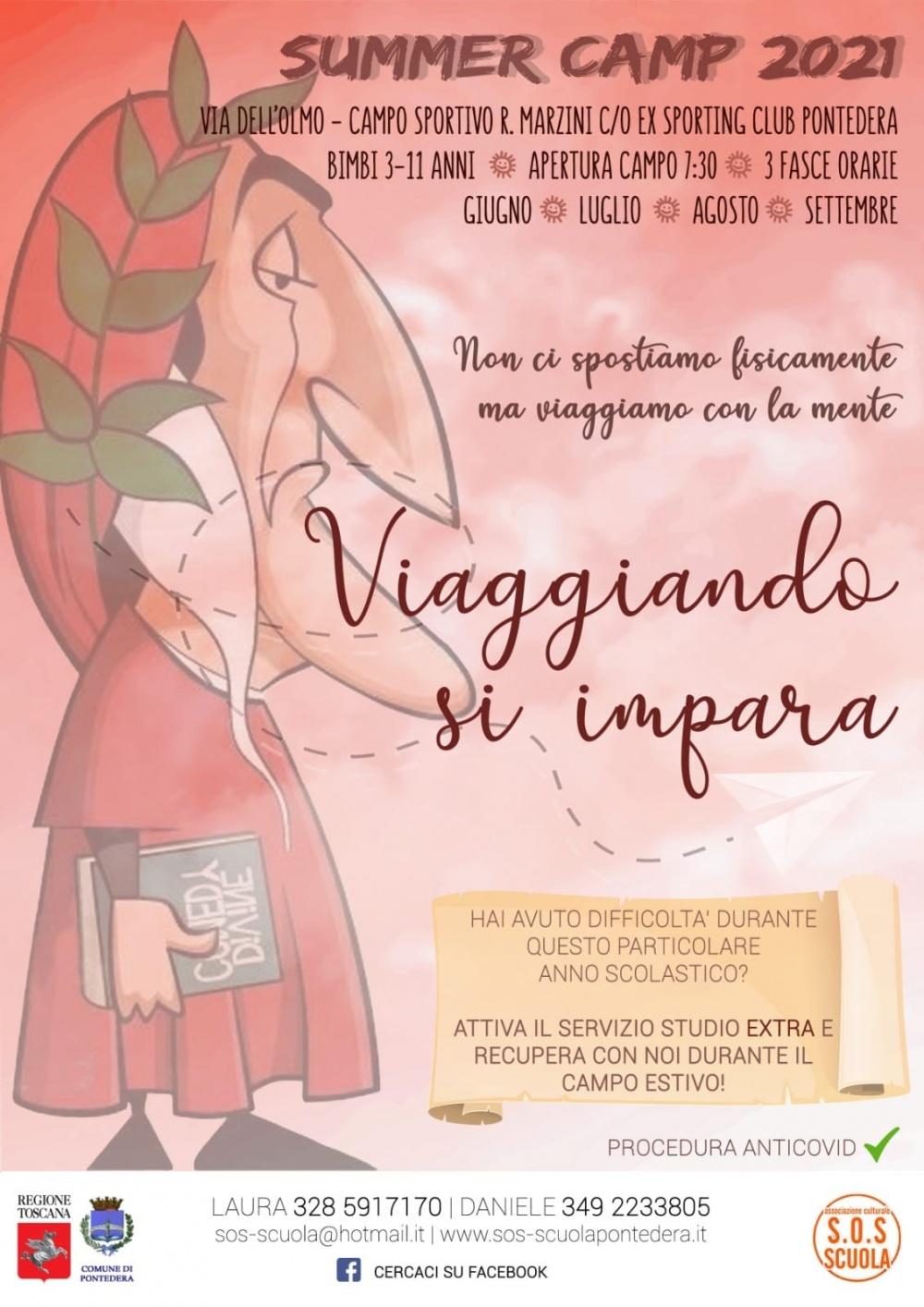 Locandina campi estivi 2021 Pontedera Pisa - Associazione Culturale S.O.S Scuola