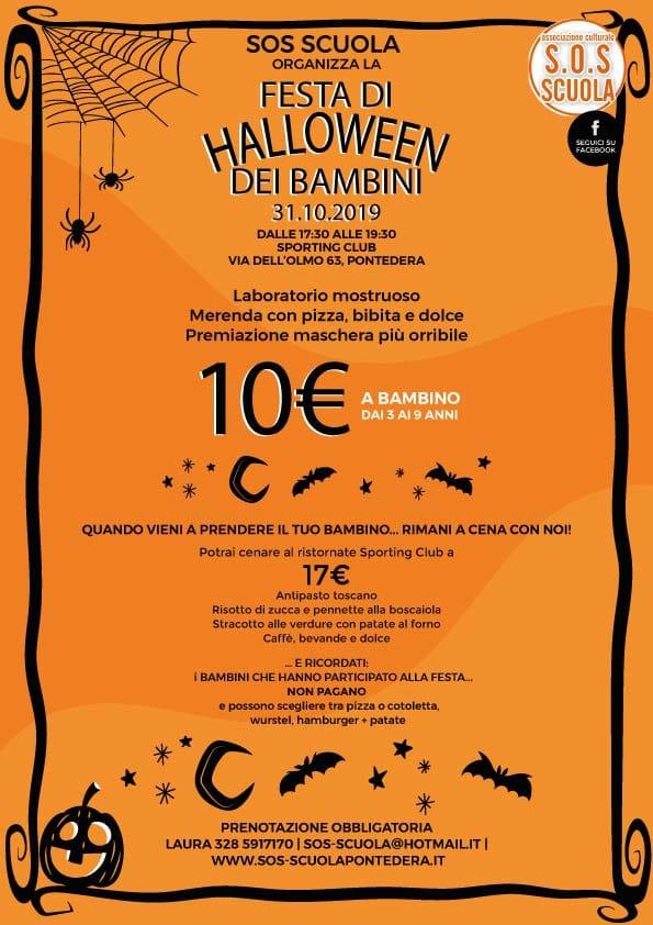 Locandina della festa di Halloween 2019 di S.O.S. Scuola Pontedera