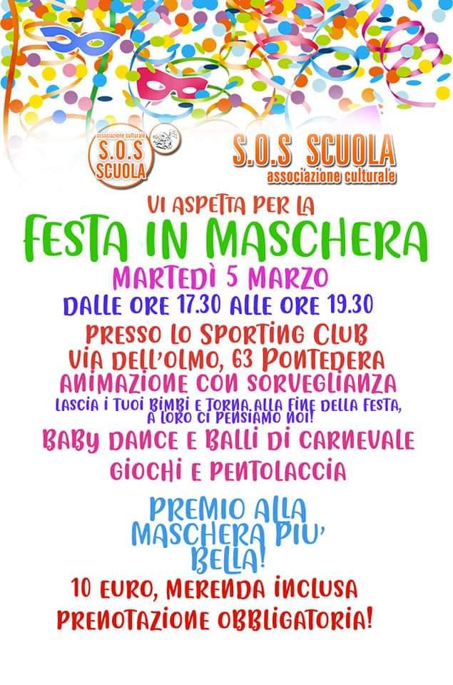 volantino festa in maschera organizzata da S.O.S Scuola di Pontedera