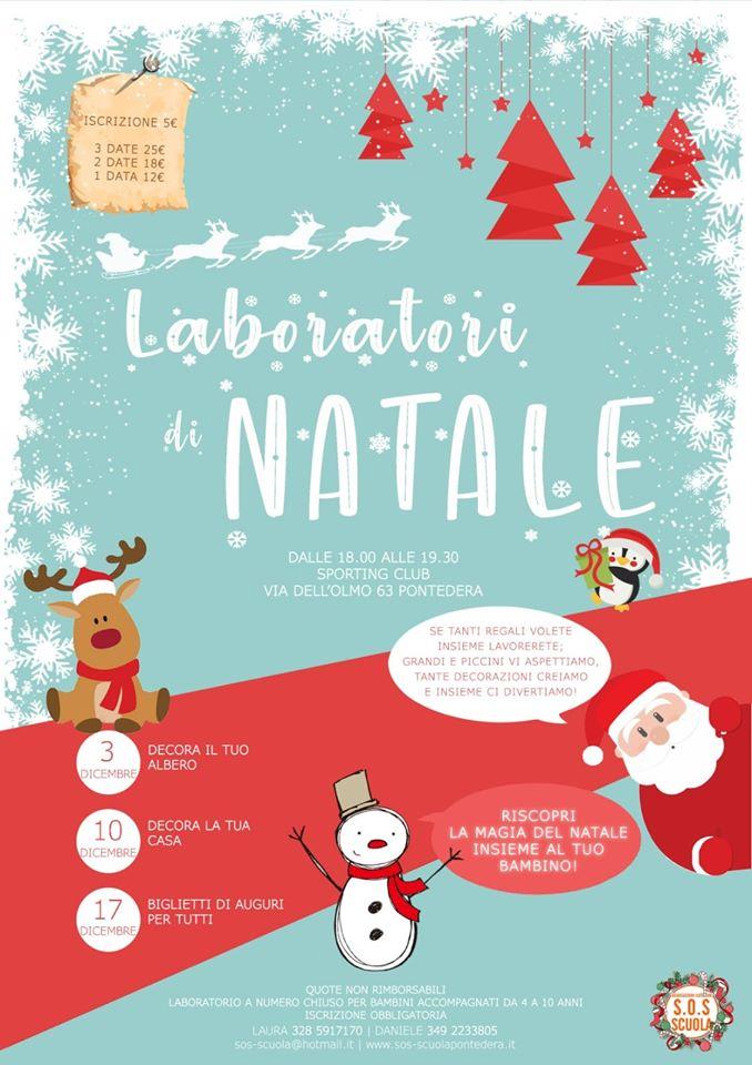 Locandina dei laboratori di Natale 2019 di S.O.S. Scuola Pontedera