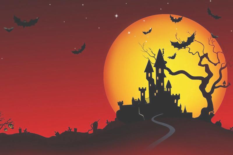 notte spaventosa di holloween, con pipistrelli castello e cielo rosso