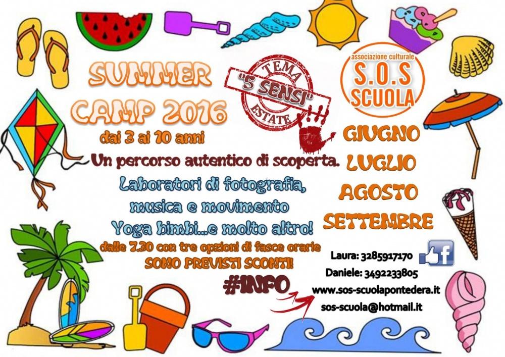locandina dei campi estivi 2016 di S.O.S Scuola di Pontedera