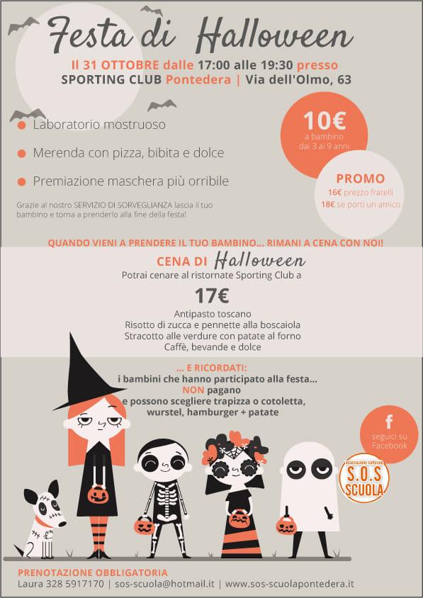 volantino festa di halloween 2018 organizzata da S.O.S Scuola di Pontedera